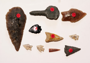 Ancient flint tools and arrowheads